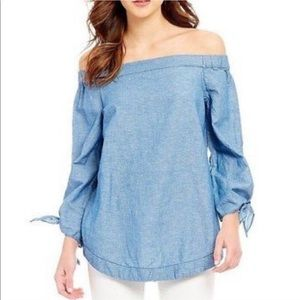 Free People Denim off the shoulder tunic